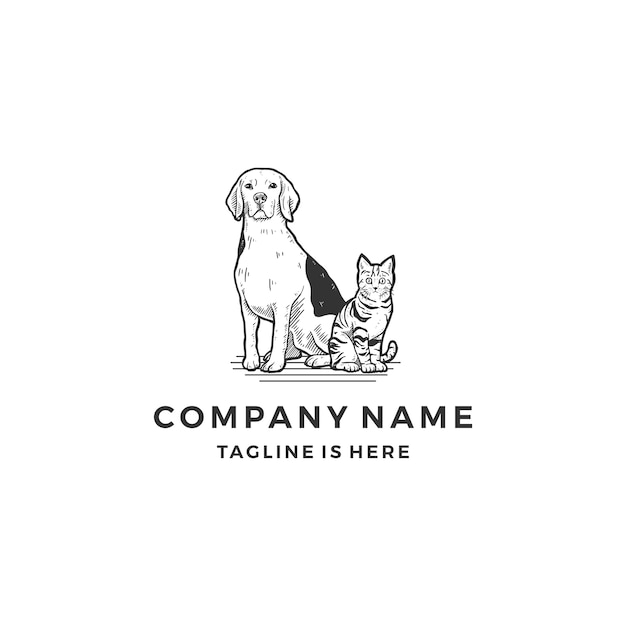 Hand drawn sitting dog cat logo icon vector illustration template ...