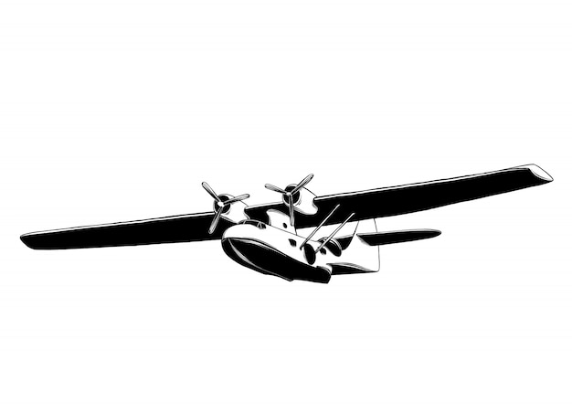 hand drawn sketch airplane black isolated detailed vintage style drawing 68