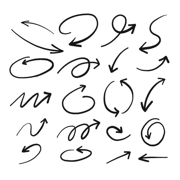 Hand drawn sketch of arrow Premium Vector