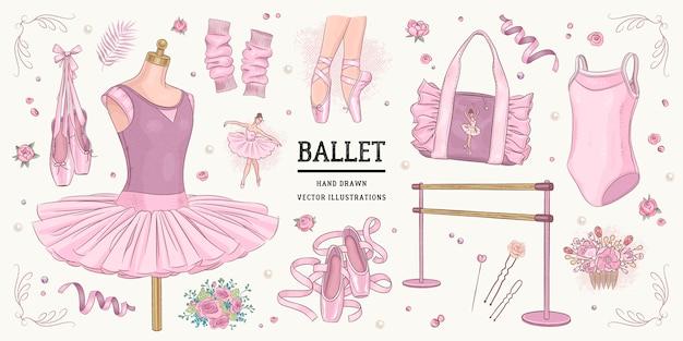 Hand drawn sketch ballet set Premium Vector