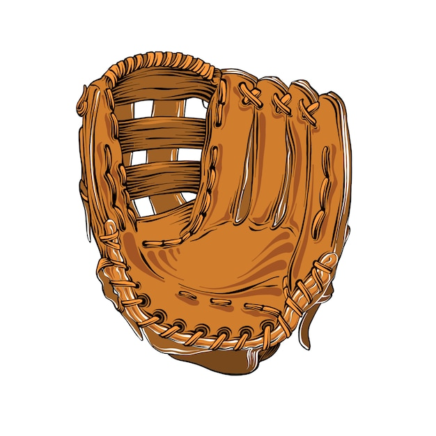 Hand drawn sketch of baseball glove in color isolated on white Premium Vector