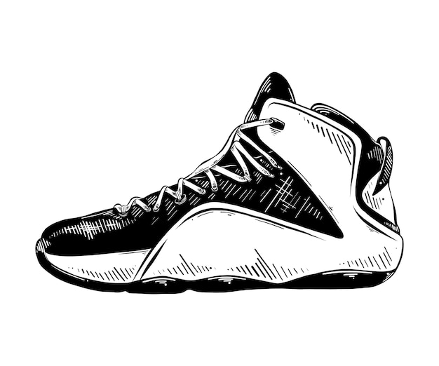 15f4872dd5d Hand drawn sketch of basketball sneaker in black Vector   Premium ...