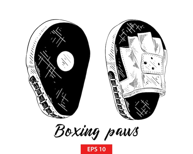 Hand drawn sketch of boxing training paws Premium Vector