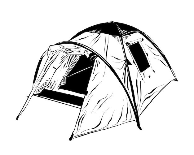 Hand drawn sketch of camping tent in black Premium Vector