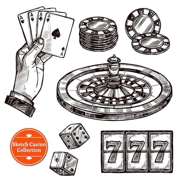 Hand drawn sketch casino collection Free Vector