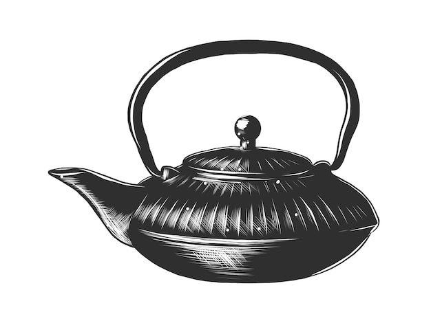 Hand drawn sketch of a chinese teapot Premium Vector