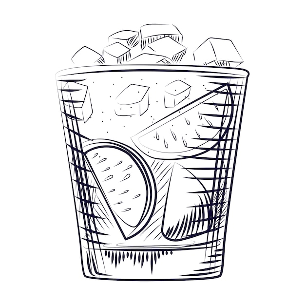 Hand drawn sketch cocktail. alcohol drink coctail. Premium Vector