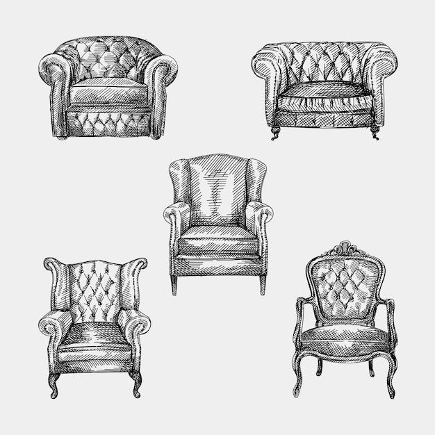 Hand-drawn sketch of collection of 5 armchairs of antique period. chesterfield leather armchair with quilted and long backrest. armchair of the antique period. vintage armchair. chesterfield sofas Premium Vector