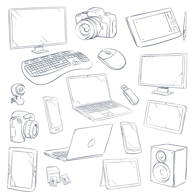 Hand drawn sketch computer technology gadgets set Premium Vector