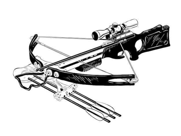 Hand drawn sketch of crossbow in black Premium Vector