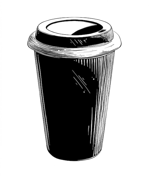 Hand drawn sketch of disposable cup in black isolated . detailed vintage style drawing. Premium Vector