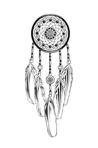 Hand drawn sketch of dreamcatcher Premium Vector