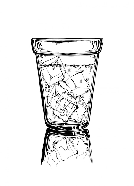 Hand drawn sketch glass with ice in black color. isolated Premium Vector