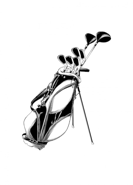 Hand drawn sketch of golf bag in black isolated . Premium Vector