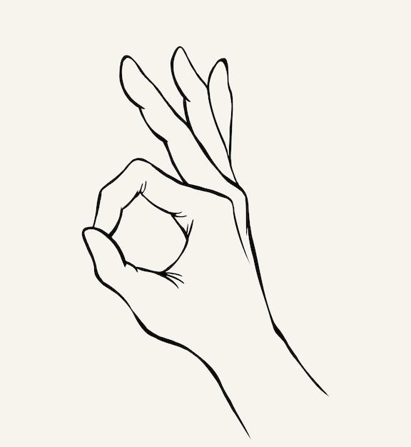 Hand drawn sketch of hand gesture Premium Vector