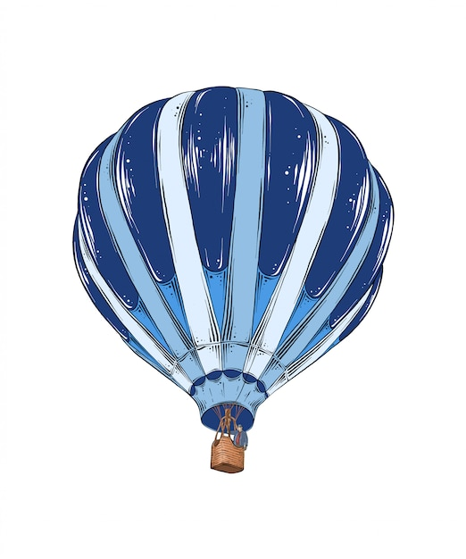 Hand drawn sketch of hot air balloon in color. Premium Vector