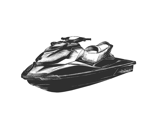 Hand drawn sketch of jet ski in monochrome Premium Vector