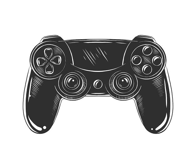 Hand drawn sketch of joystick in monochrome Premium Vector