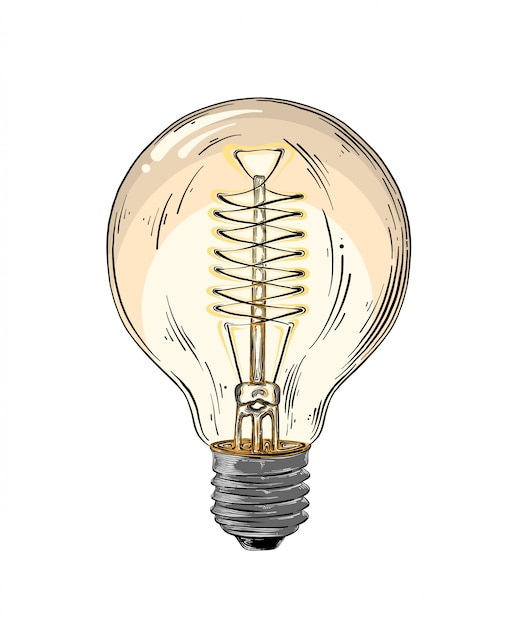 Hand drawn sketch of lightbulb in color isolated. detailed vintage style drawing. vector illustration Premium Vector