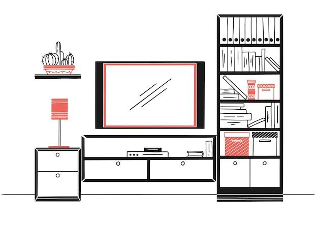 Hand drawn sketch. linear sketch of the interior. bookcase, dresser with tv and shelves.  illustration Premium Vector