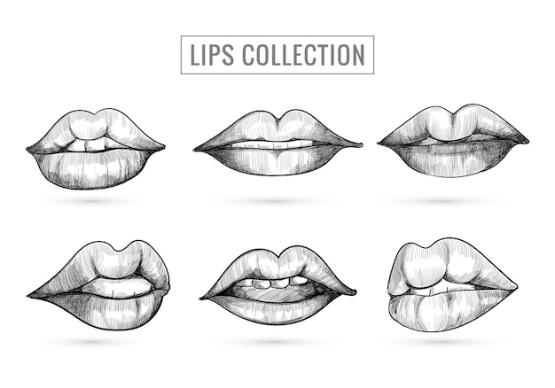 Hand drawn sketch lips collection design Free Vector