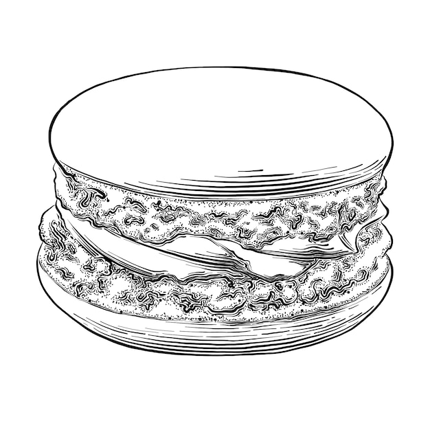 Hand drawn sketch of macaron in black isolated . detailed vintage style drawing. Premium Vector