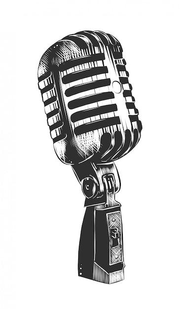 Hand drawn sketch of microphone in monochrome Premium Vector