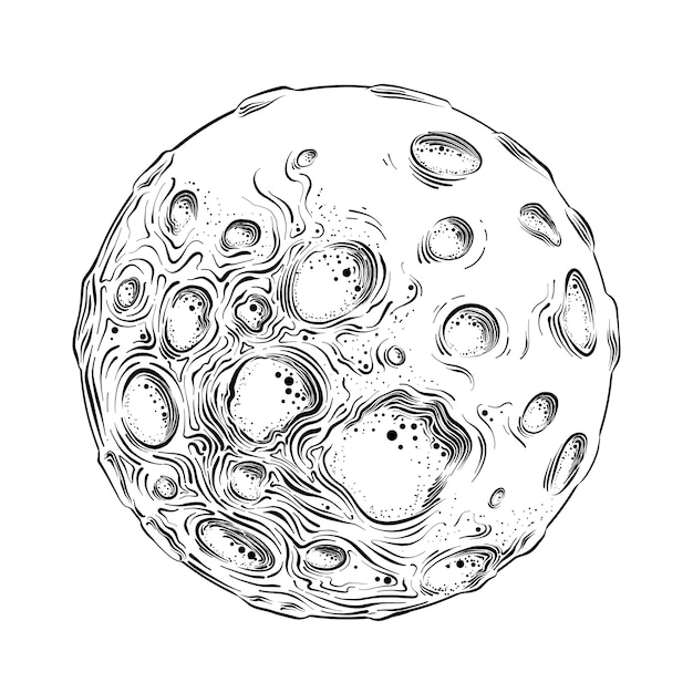 Hand drawn sketch of moon planet in black isolated . detailed vintage style drawing. Premium Vector