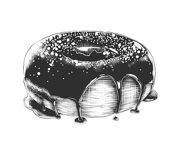 モノクロでドーナツの手描きのスケッチ Premiumベクター