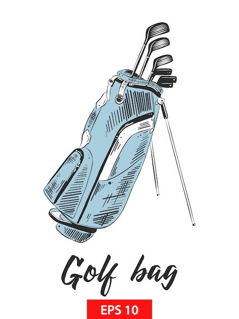 Ручной обращается эскиз сумка для гольфа в красочном Premium векторы