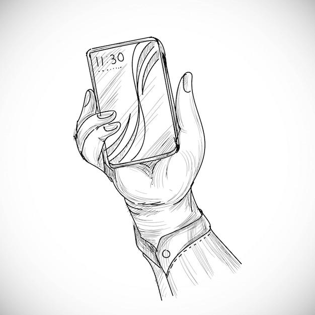 Ручной обращается эскиз правой руки человека с помощью или смартфона Бесплатные векторы