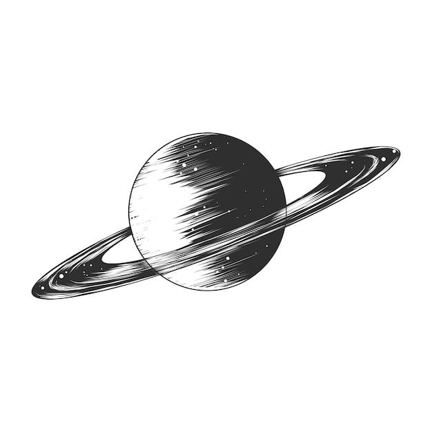 Ручной обращается эскиз планеты сатурн в монохромном режиме Premium векторы