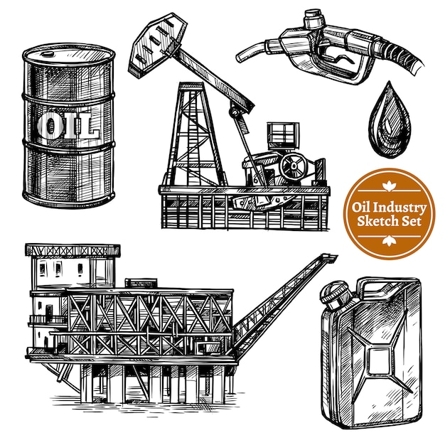 Hand drawn sketch oil industry set Free Vector