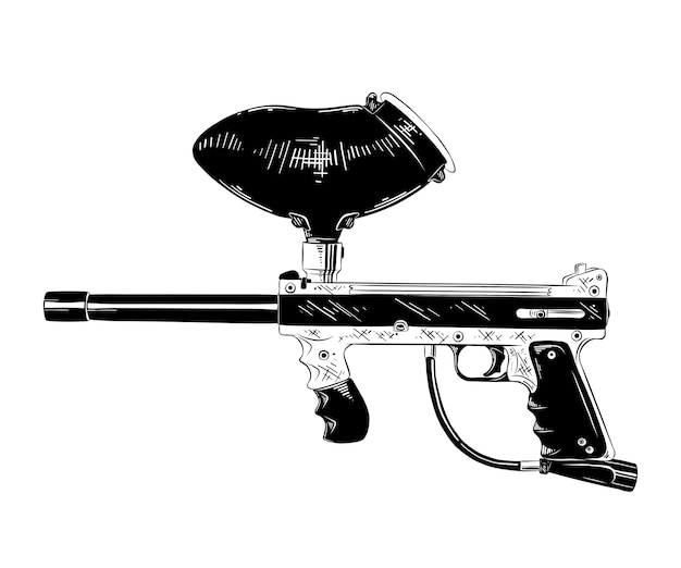Hand drawn sketch of paintball gun in black Premium Vector