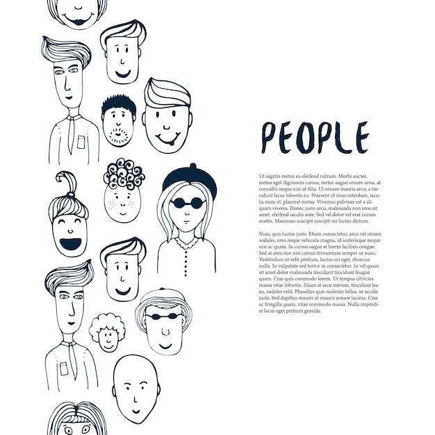 手描きのスケッチの人々のコレクション。ベクトルデザインのビジネステンプレート。フライヤー、バナー、ポスター、パンフレットのための人々との国境 Premiumベクター