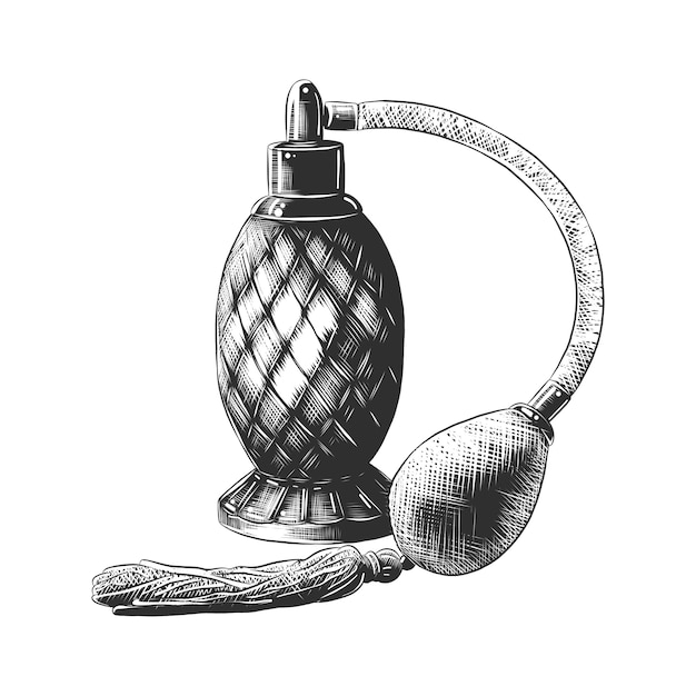 Hand drawn sketch of perfume in monochrome Premium Vector
