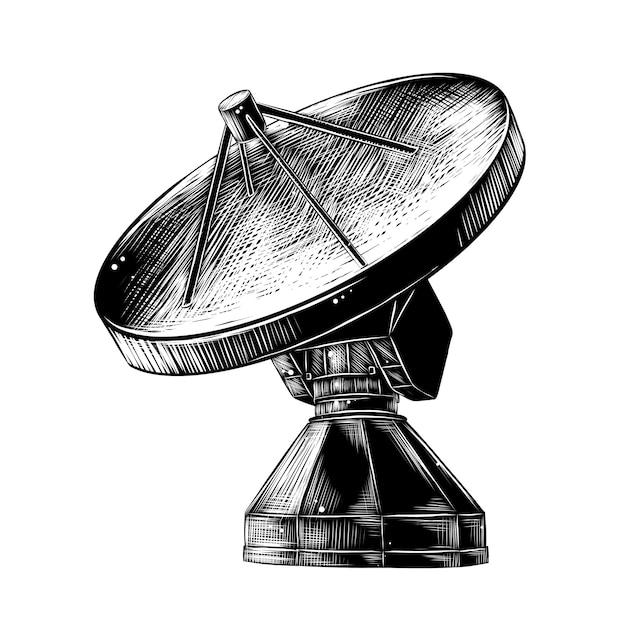 Hand drawn sketch of satellite antenna Premium Vector