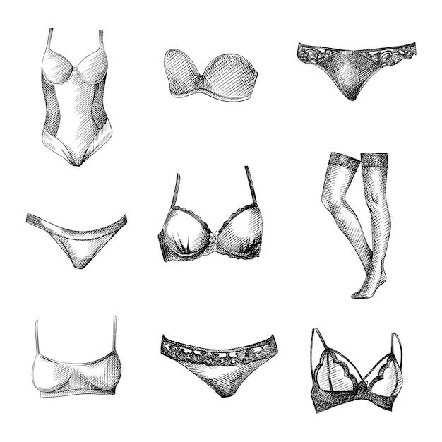 Hand-drawn sketch set of female underwear clothes. set includes closed swimsuit, bra, lace underpants, simple underpants, lace bra, stockings, simple bra, bra without straps, bikini Premium Vector