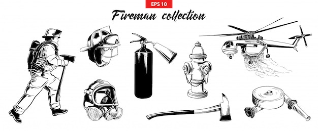 Hand drawn sketch set of firefighters odjects Premium Vector