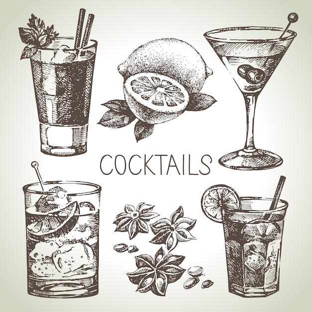 アルコールカクテルの手描きスケッチセット。図 Premiumベクター
