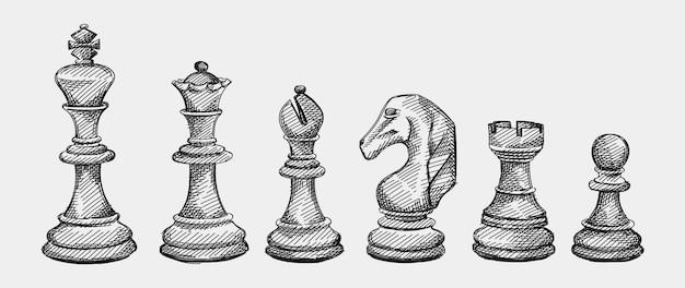 チェスの駒の手描きスケッチセット。チェス。仲間を確認してください。キング、クイーン、ビショップ、ナイト、ルーク、ポーン Premiumベクター