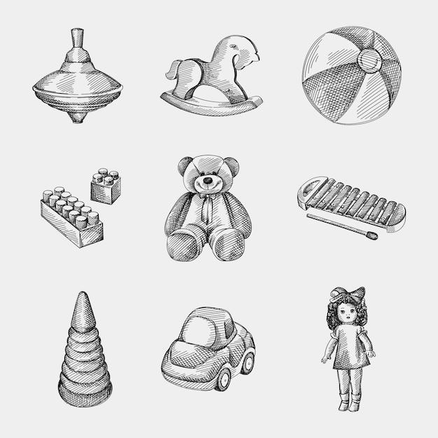 Набор рисованной эскиз детских игрушек. волчок, лошадка-качалка, маленький надувной двухцветный пляжный мяч, конструктор / лего, винтажная кукла, ксилофон, игрушечный автомобиль, складывающаяся пирамида из радуги Premium векторы