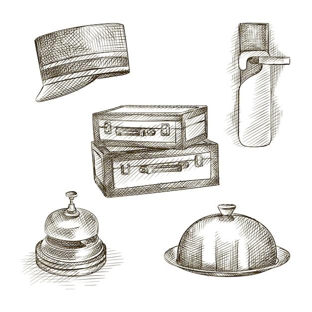 ホテルのテーマの手描きスケッチセット。セットには、靴べら、スーツケース、コンシェルジュキャップ、テーブルベル、クローズドフードトレイが含まれます Premiumベクター