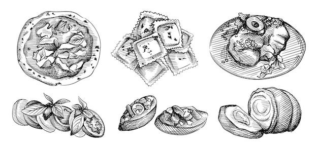 Набор рисованной эскиз итальянской кухни. брускетта, миланские телячьи отбивные, итальянские равиоли с начинкой из мяса и сыра, салат капрезе с бальзамической глазурью, жаркое из свинины порчетта, неаполитанская пицца Premium векторы