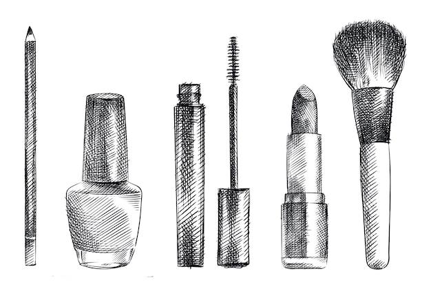 メイクアップや化粧品のツールの手描きスケッチセット。眉用鉛筆、マスカラチューブ、マスカラブラシ、口紅、パウダーブラシ、マニキュアチューブ Premiumベクター