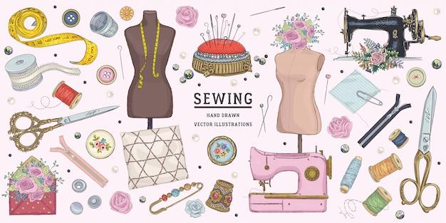 Hand drawn sketch sewing set Premium Vector
