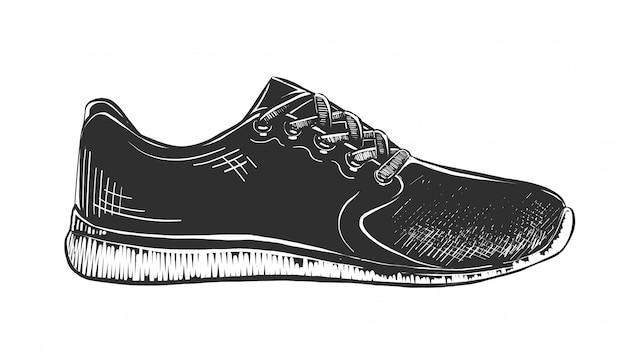 Hand drawn sketch of sneaker in monochrome Premium Vector