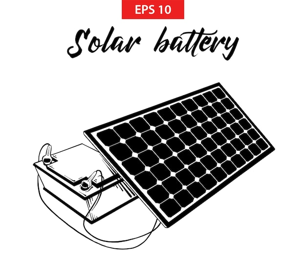 Hand drawn sketch of solar battery panel Premium Vector