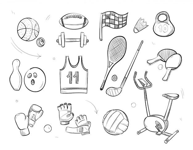 Hand drawn sketch sports fitness equipment Premium Vector