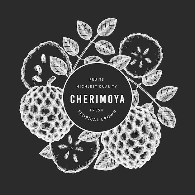 Ручной обращается эскиз в стиле черимойя баннер. иллюстрация органических свежих фруктов на доске мелом. гравированный ботанический шаблон стиля. Premium векторы